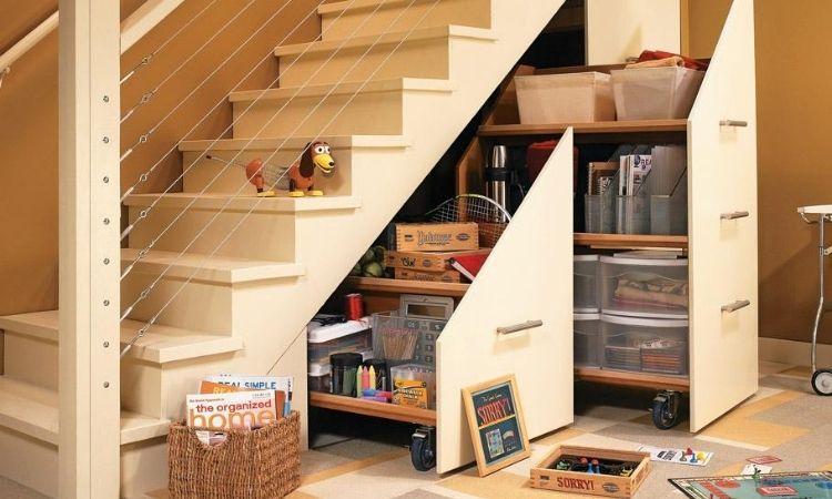 modern under stairs storage